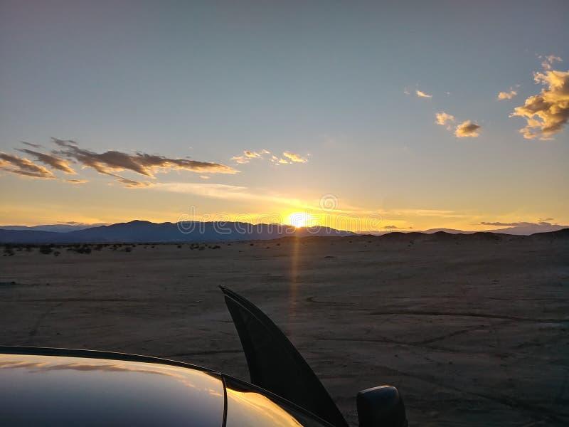 Puesta del sol de los pozos del Ocotillo fotos de archivo libres de regalías