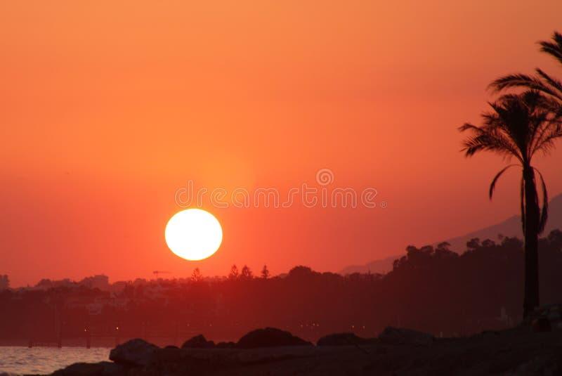 Puesta del sol de Marbella imagen de archivo libre de regalías