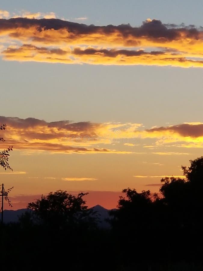 Puesta del sol de New México fotografía de archivo