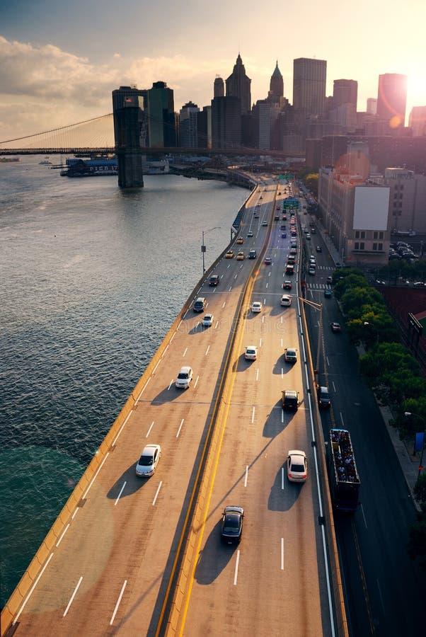 Puesta del sol de New York City imagenes de archivo
