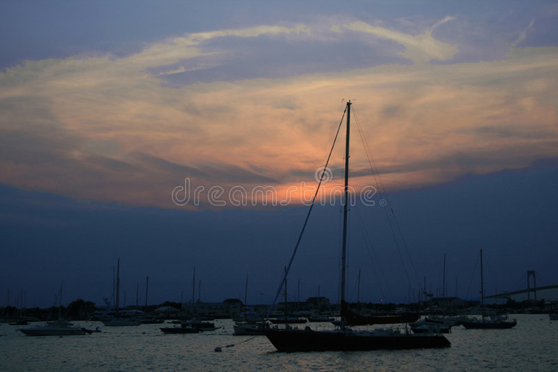Puesta del sol de Newport fotografía de archivo