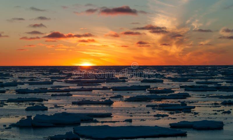 Puesta del sol de oro sobre masas de hielo flotante del paquete-hielo, la Antártida imagen de archivo
