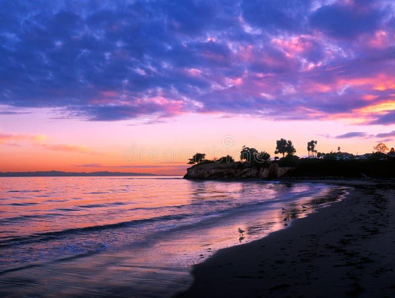 Puesta del sol de Santa Barbara foto de archivo