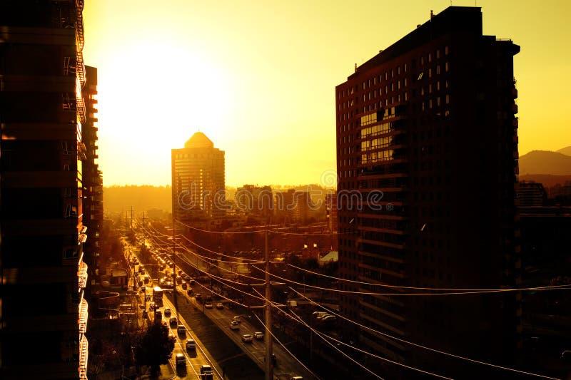 Puesta del sol de Santiago foto de archivo libre de regalías