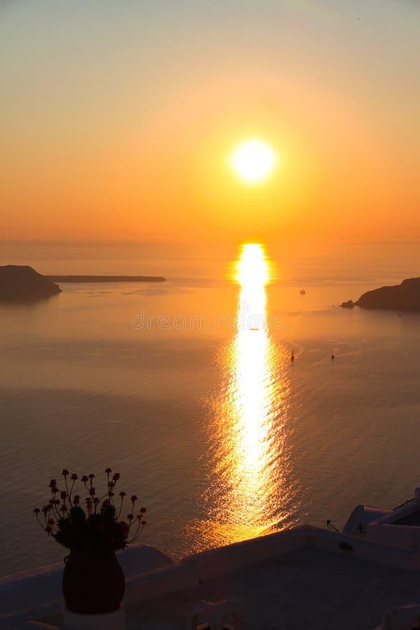 Puesta del sol de Santorini foto de archivo libre de regalías