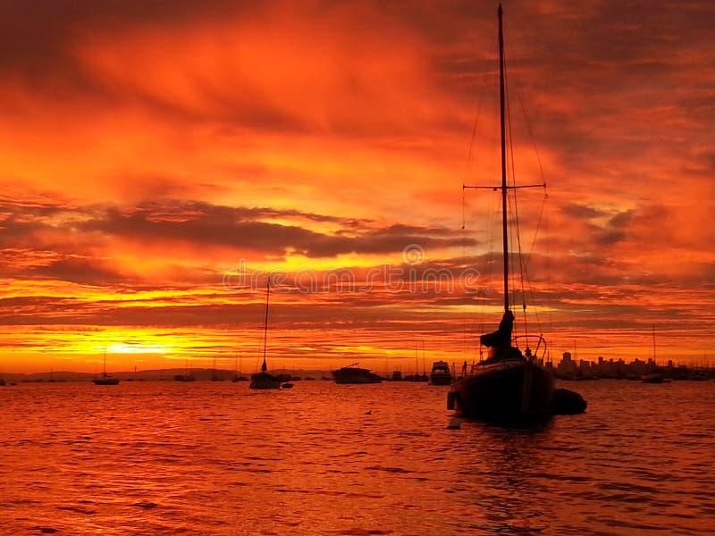 Puesta del sol de Sausalito fotos de archivo