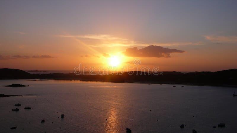 Puesta del sol de Scilly imágenes de archivo libres de regalías
