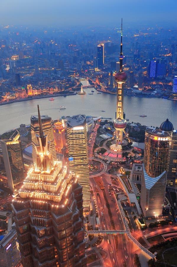 Puesta del sol de Shangai imágenes de archivo libres de regalías