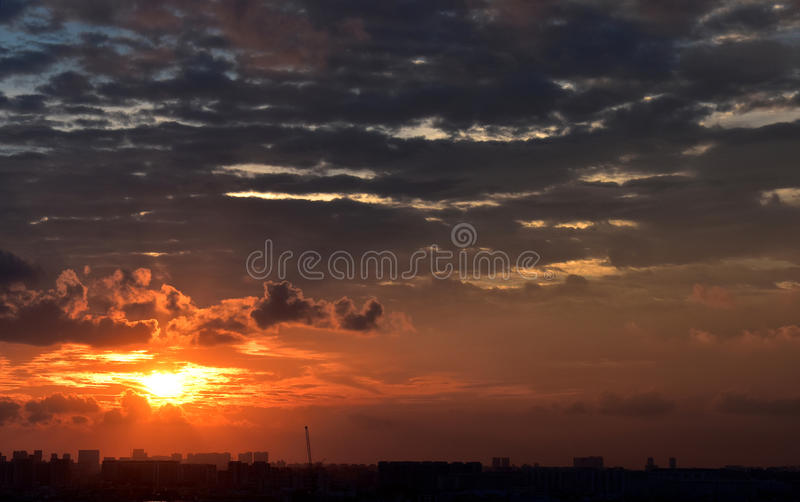 Puesta del sol de Singapur imagen de archivo
