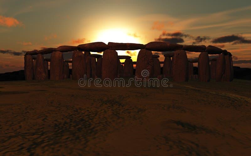Puesta del sol de Stonehenge ilustración del vector