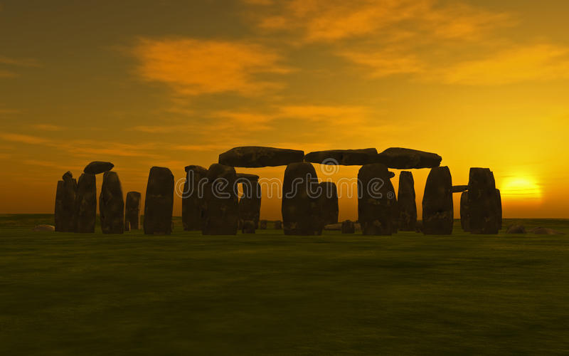 Puesta del sol de Stonehenge libre illustration