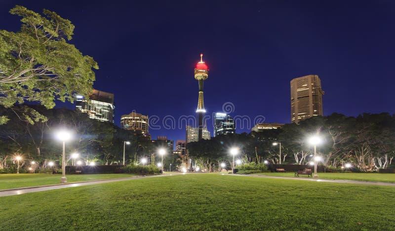 Puesta del sol de Sydney City Hyde Park fotografía de archivo