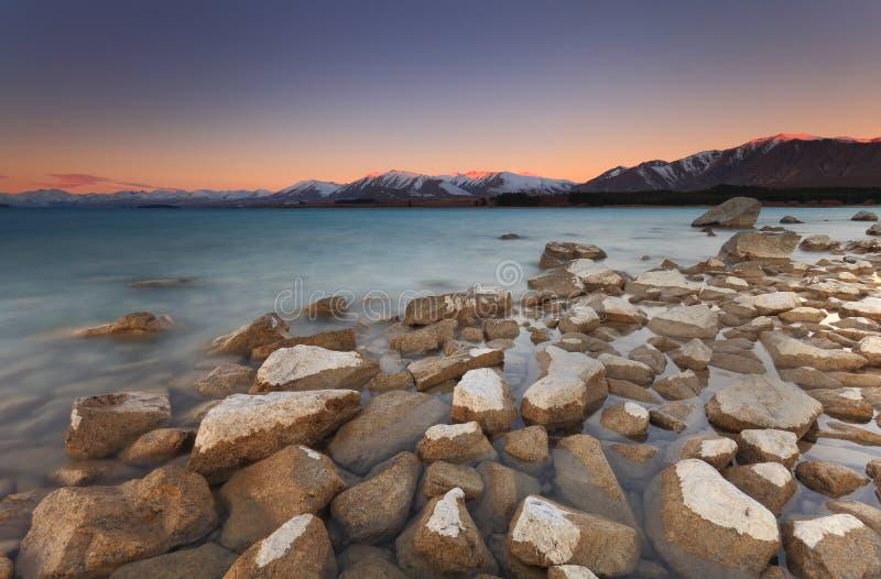 Puesta del sol de Tekapo del lago imagen de archivo libre de regalías