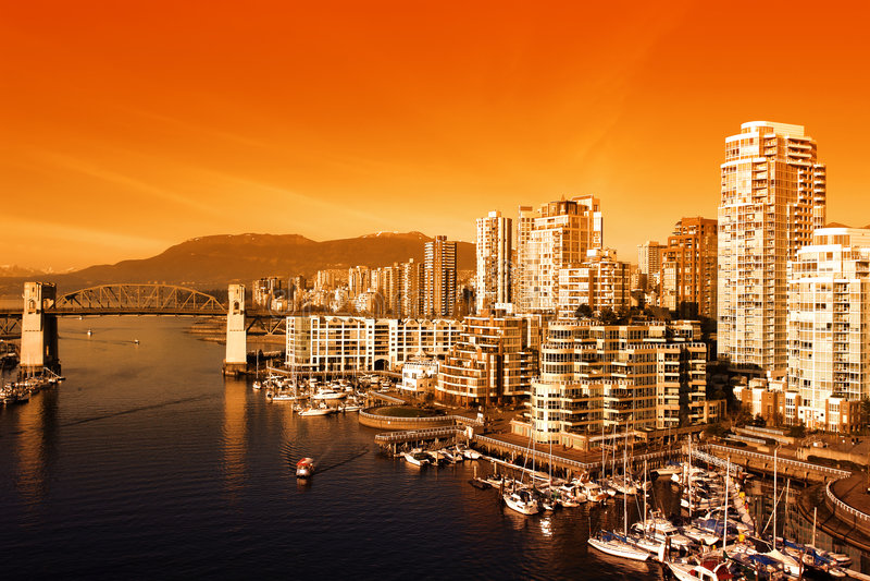 Puesta del sol de Vancouver fotos de archivo