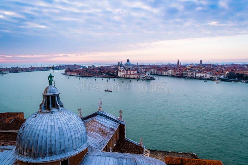 Puesta del sol de Venecia, Italia foto de archivo