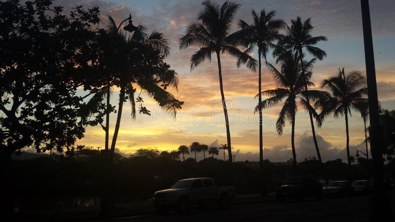 Puesta del sol de Waikiki imagen de archivo