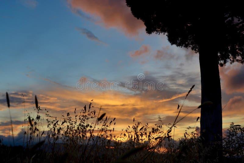 Puesta del sol debajo del cielo toscano fotografía de archivo libre de regalías