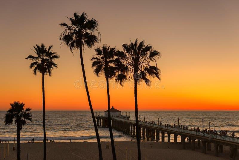 Puesta del sol debajo de las palmeras y del embarcadero de Manhattan Beach imagen de archivo libre de regalías