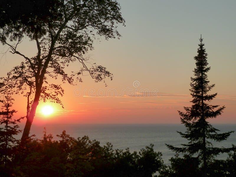 Puesta del sol del condado de Door foto de archivo