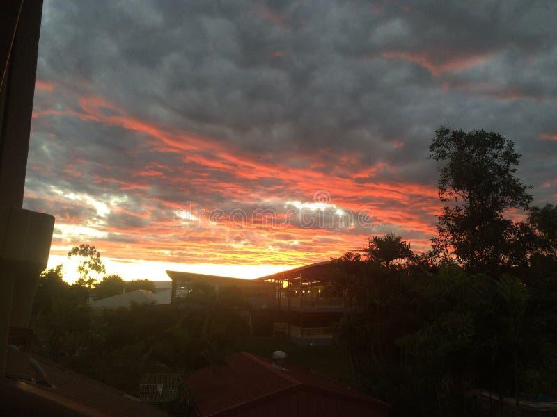 Puesta del sol del fuego foto de archivo libre de regalías