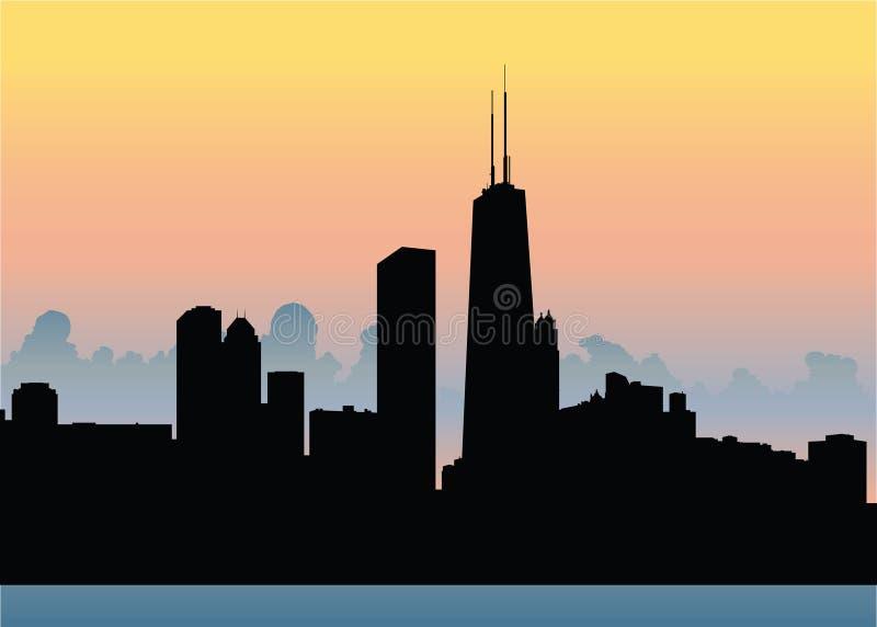 Puesta del sol del horizonte de Chicago stock de ilustración