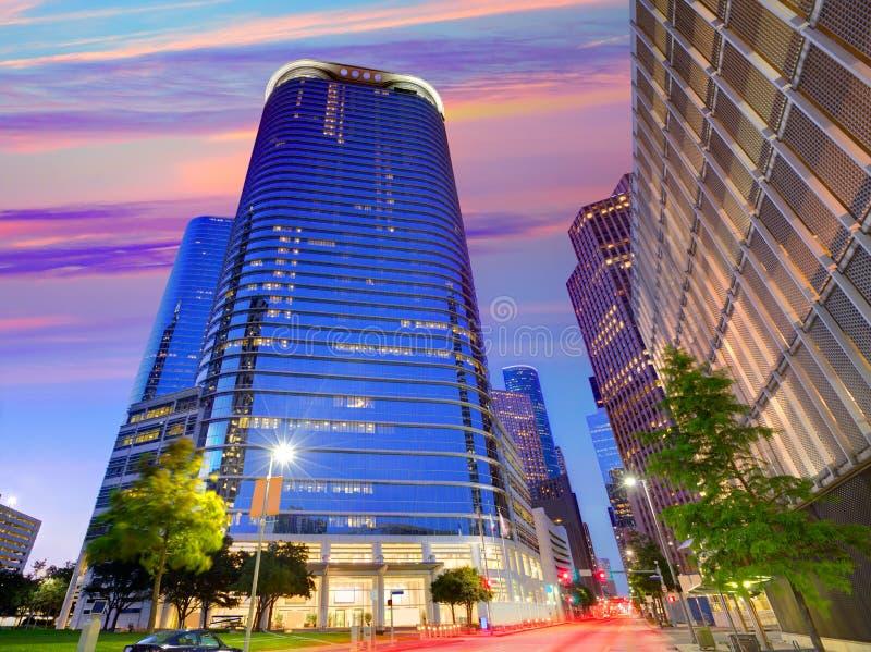 Puesta del sol del horizonte de Houston Downtown en Tejas los E.E.U.U. foto de archivo libre de regalías
