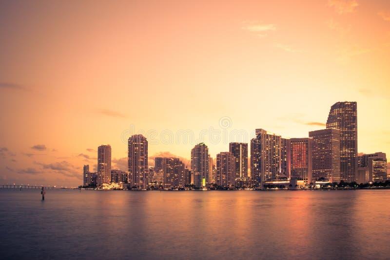 Puesta del sol del horizonte de Miami foto de archivo libre de regalías