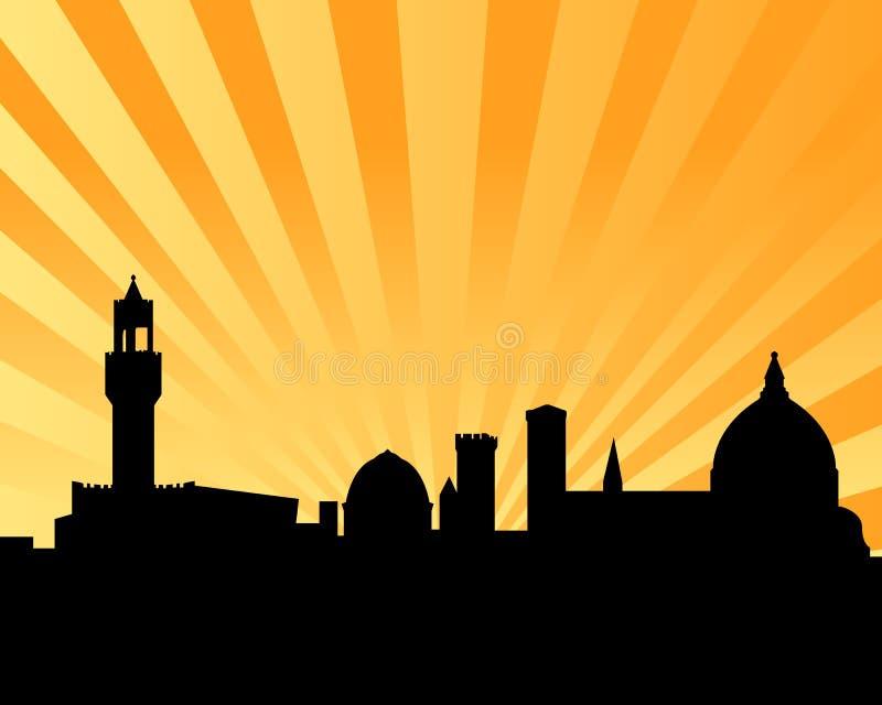Puesta del sol del horizonte del vector de Florencia stock de ilustración