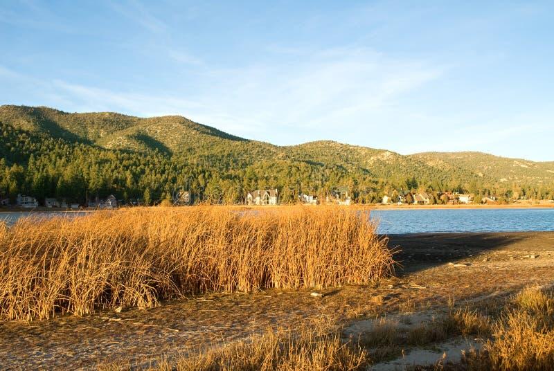 Puesta Del Sol Del Lago En Big Bear Fotografía de archivo