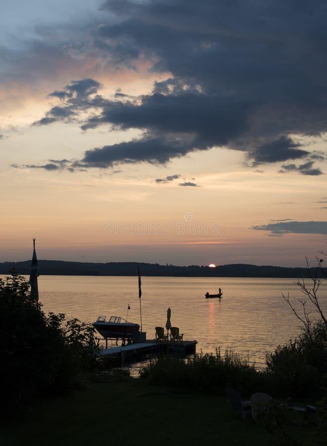 Puesta del sol del lago rice fotos de archivo libres de regalías