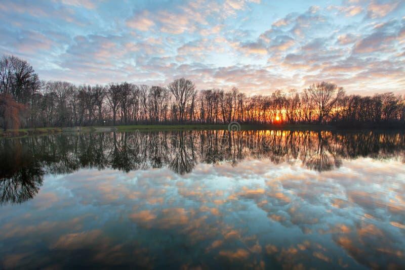 Puesta del sol del lago sobre bosque foto de archivo