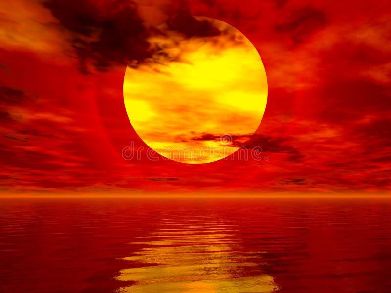 Puesta del sol del mar stock de ilustración