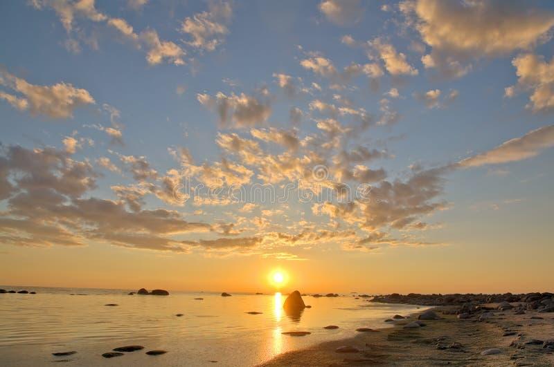 Puesta del sol del mar de HDRi foto de archivo libre de regalías