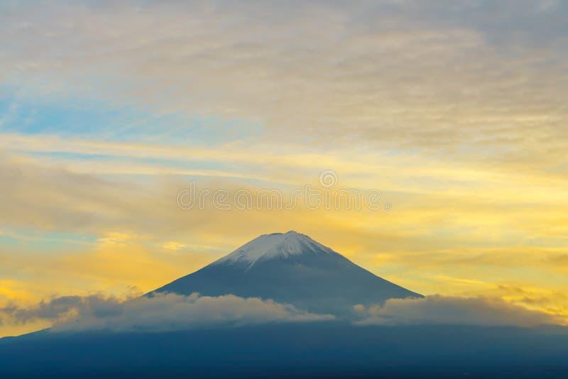 Puesta del sol del monte Fuji, foto de archivo