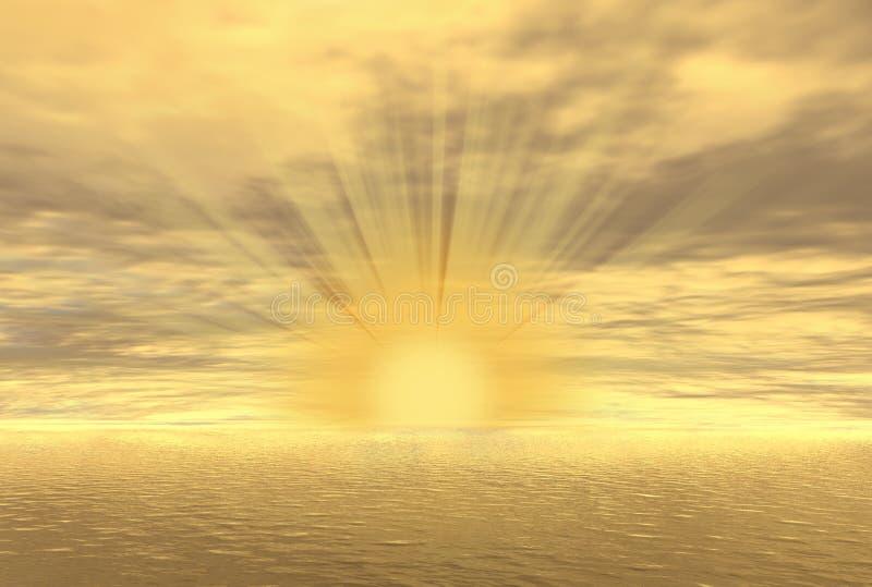 Puesta del sol del oro stock de ilustración