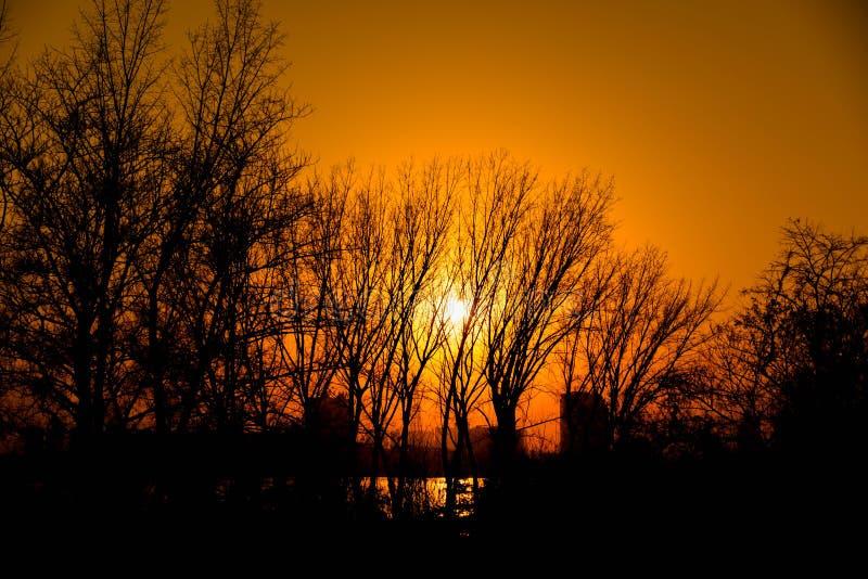 Puesta del sol del otoño foto de archivo