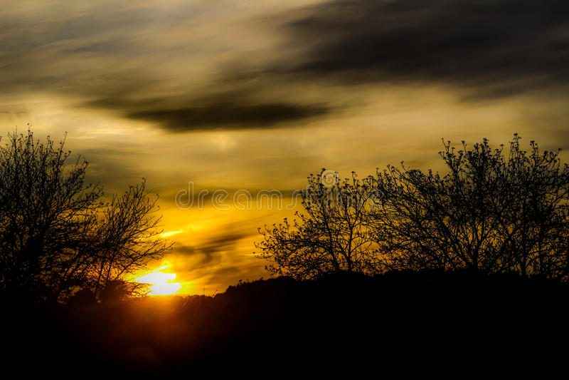 Puesta del sol del otoño foto de archivo libre de regalías