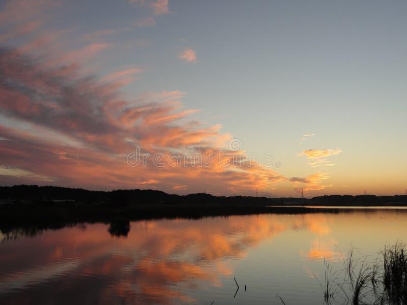 Puesta del sol del otoño en el lago Teganuma, Japón fotografía de archivo libre de regalías
