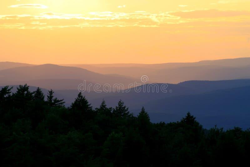 Puesta del sol del parque de Minnewaska fotografía de archivo