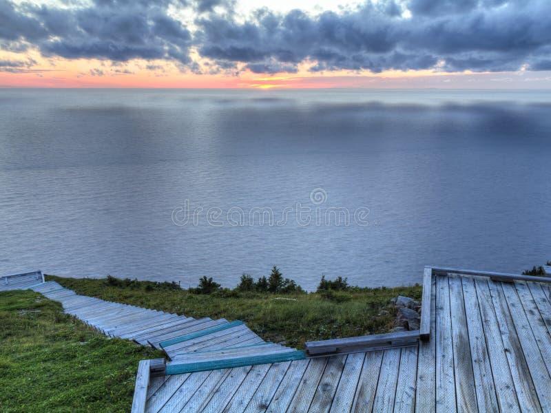 Puesta del sol del paseo marítimo del rastro del horizonte fotos de archivo libres de regalías