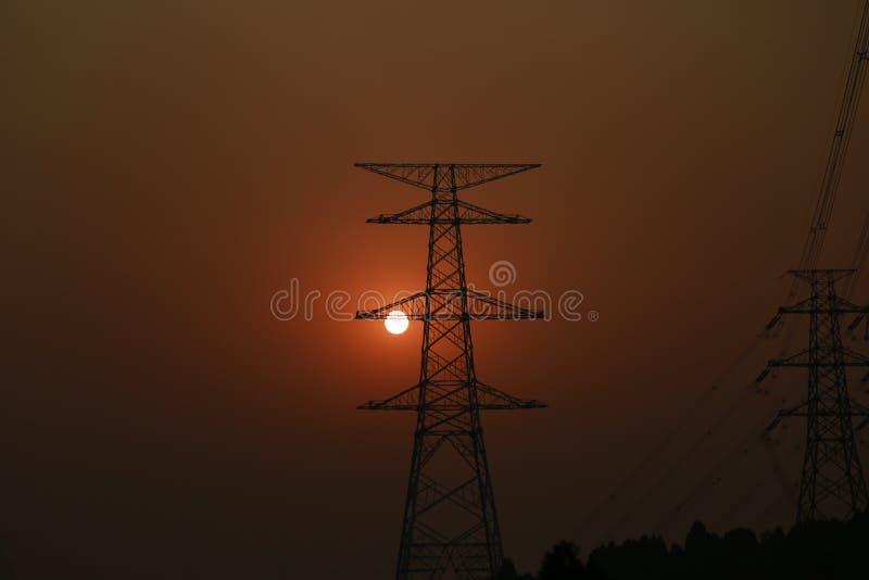 Puesta del sol del pilón imagen de archivo libre de regalías
