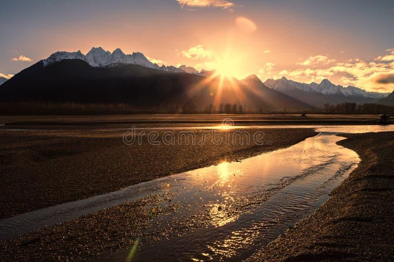 Puesta del sol del río de Chilkat foto de archivo libre de regalías