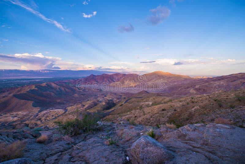 Puesta del sol del valle Coachella imagen de archivo libre de regalías