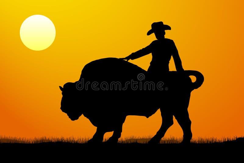 Puesta del sol del vector de la silueta del jinete de rodeo stock de ilustración