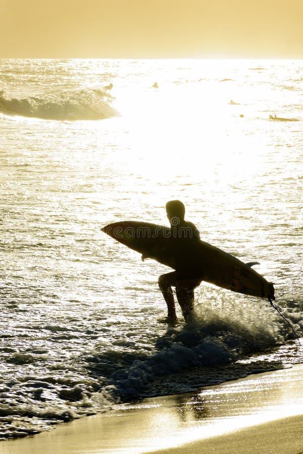 Puesta del sol del verano con la persona que practica surf imagen de archivo libre de regalías