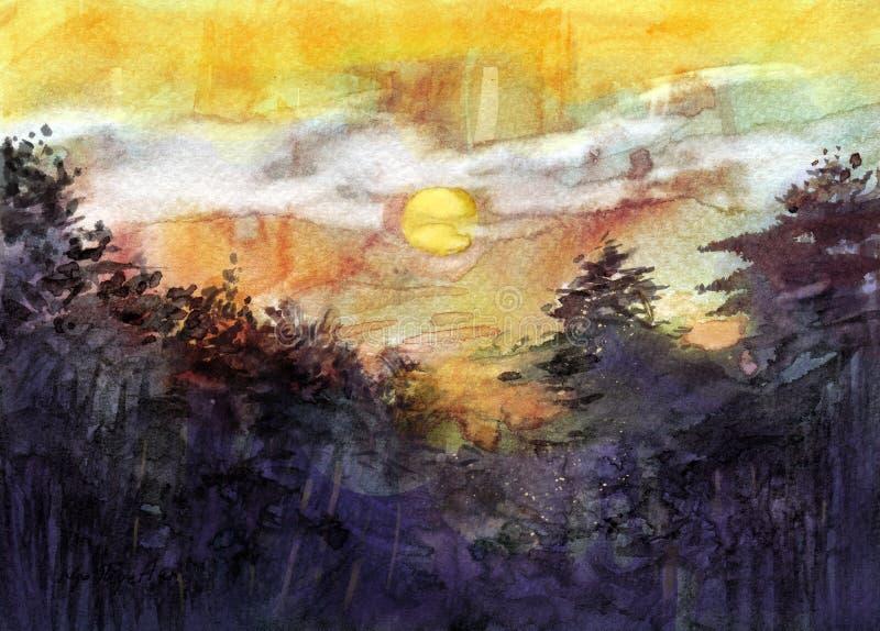 Puesta del sol detrás del árbol stock de ilustración