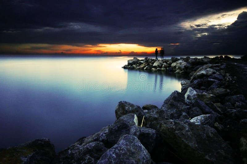 Puesta del sol dramática foto de archivo libre de regalías