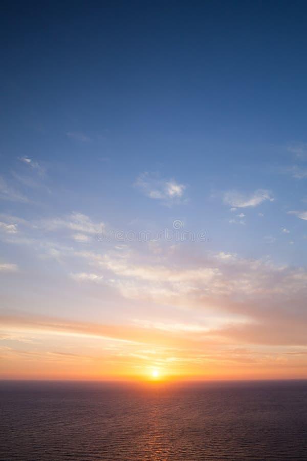Puesta del sol dramática Cabo Keri, Zakynthos foto de archivo libre de regalías