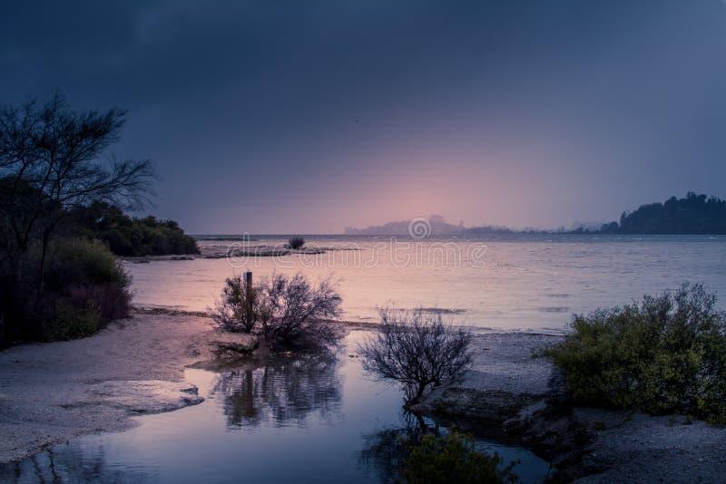 Puesta del sol dramática sobre el lago Rotorua en un día lluvioso Arbustos de la costa costa sobre rocas imágenes de archivo libres de regalías