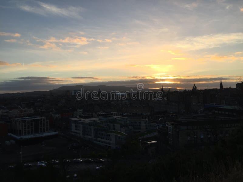 Puesta del sol, Edimburgo fotografía de archivo